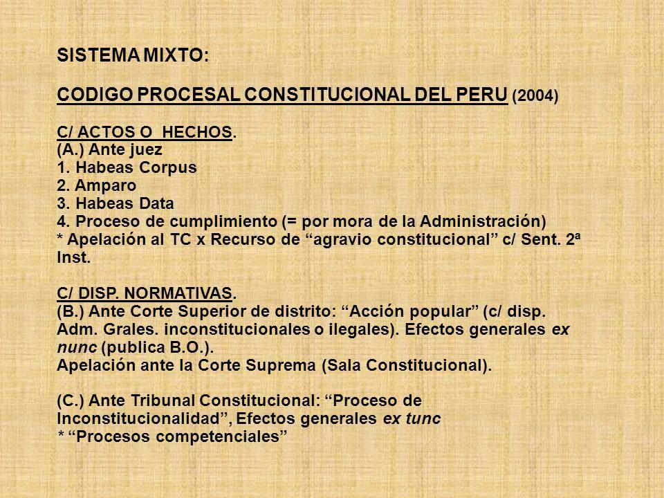 SISTEMA MIXTO: CODIGO PROCESAL CONSTITUCIONAL DEL PERU (2004) C/ ACTOS O HECHOS. (A.) Ante juez 1. Habeas Corpus 2. Amparo 3. Habeas Data 4. Proceso d