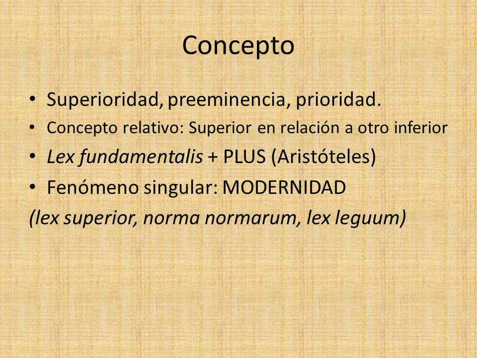 Concepto Superioridad, preeminencia, prioridad. Concepto relativo: Superior en relación a otro inferior Lex fundamentalis + PLUS (Aristóteles) Fenómen