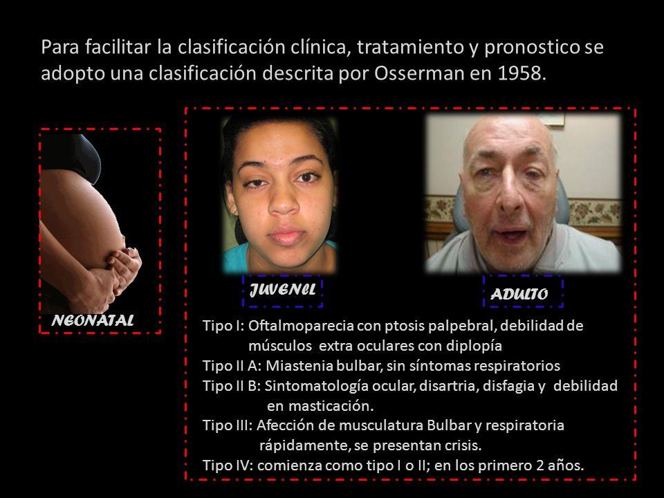 Para facilitar la clasificación clínica, tratamiento y pronostico se adopto una clasificación descrita por Osserman en 1958.