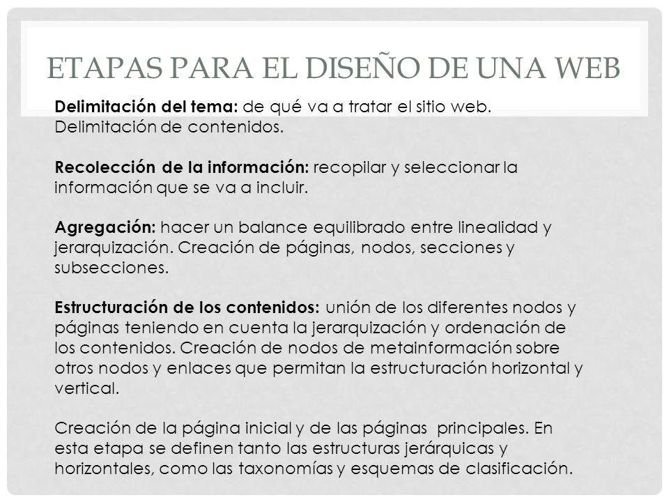 ETAPAS PARA EL DISEÑO DE UNA WEB Delimitación del tema: de qué va a tratar el sitio web. Delimitación de contenidos. Recolección de la información: re