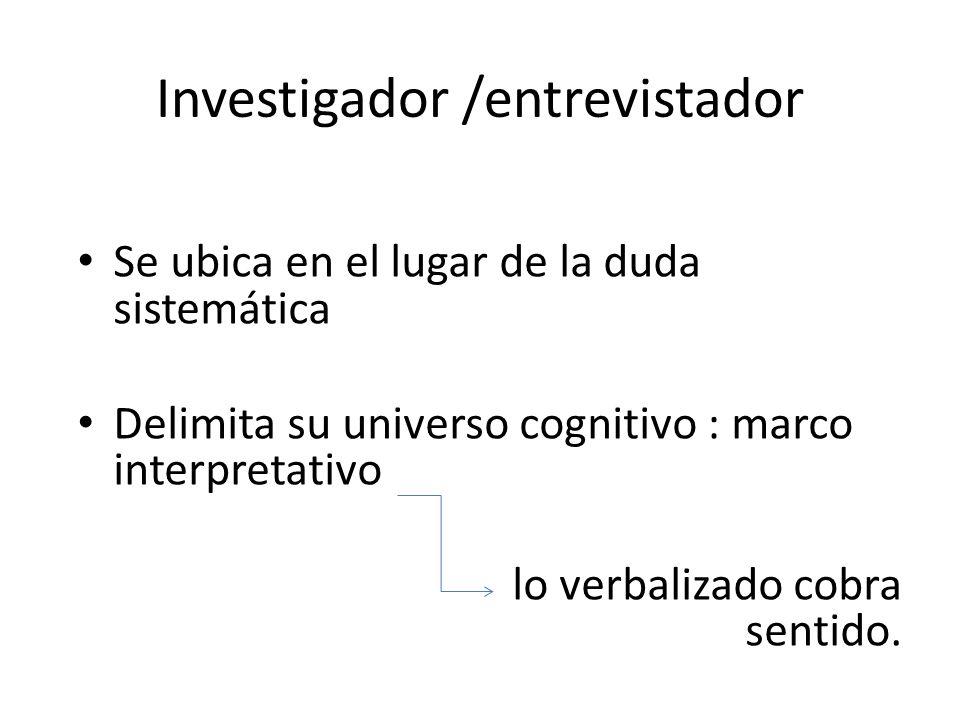 Investigador /entrevistador Se ubica en el lugar de la duda sistemática Delimita su universo cognitivo : marco interpretativo lo verbalizado cobra sen
