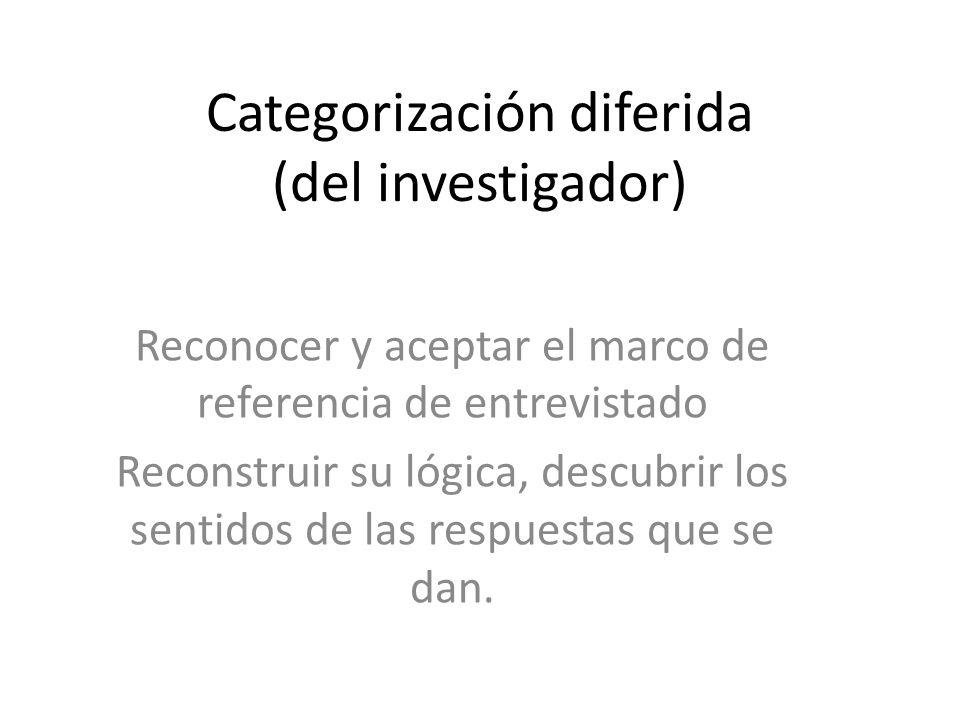 Categorización diferida (del investigador) Reconocer y aceptar el marco de referencia de entrevistado Reconstruir su lógica, descubrir los sentidos de