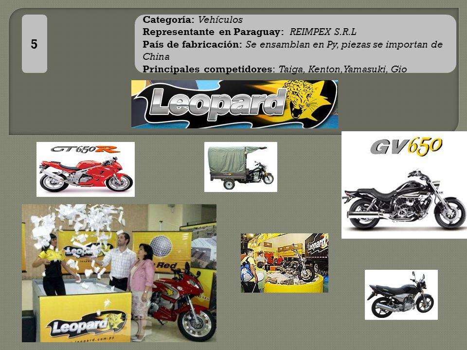 5 Categoría: Vehículos Representante en Paraguay: REIMPEX S.R.L País de fabricación: Se ensamblan en Py, piezas se importan de China Principales competidores: Taiga, Kenton, Yamasuki, Gio