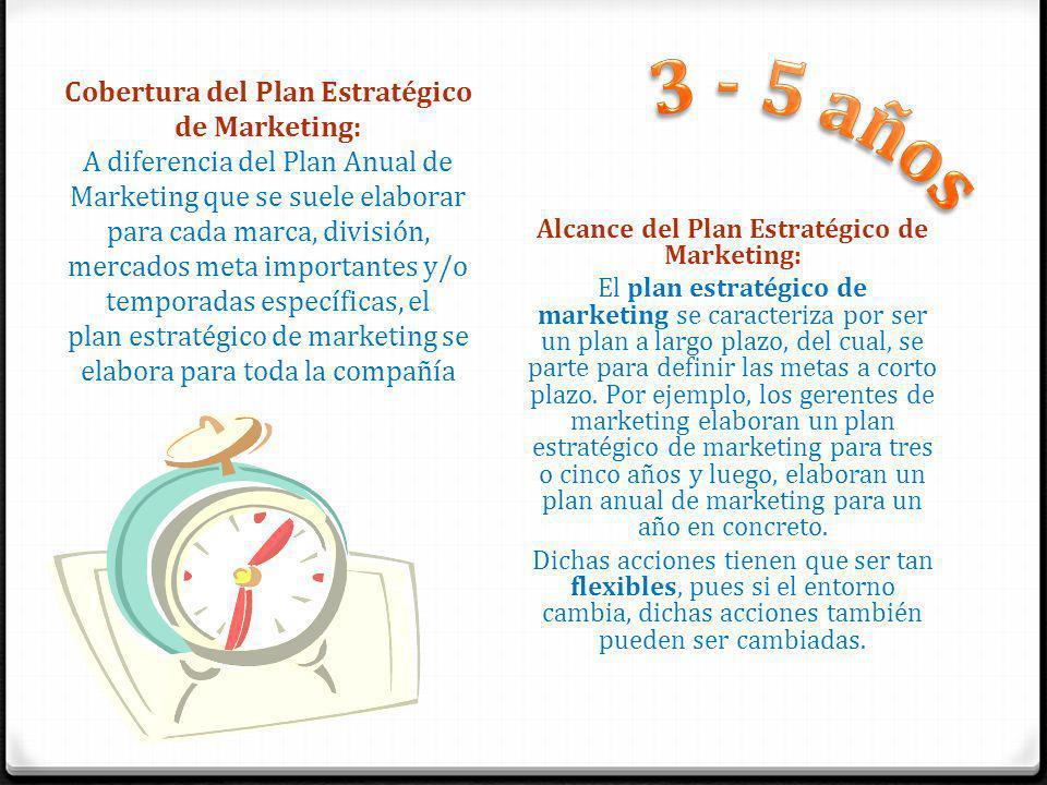 Cobertura del Plan Estratégico de Marketing: A diferencia del Plan Anual de Marketing que se suele elaborar para cada marca, división, mercados meta importantes y/o temporadas específicas, el plan estratégico de marketing se elabora para toda la compañía Alcance del Plan Estratégico de Marketing: El plan estratégico de marketing se caracteriza por ser un plan a largo plazo, del cual, se parte para definir las metas a corto plazo.