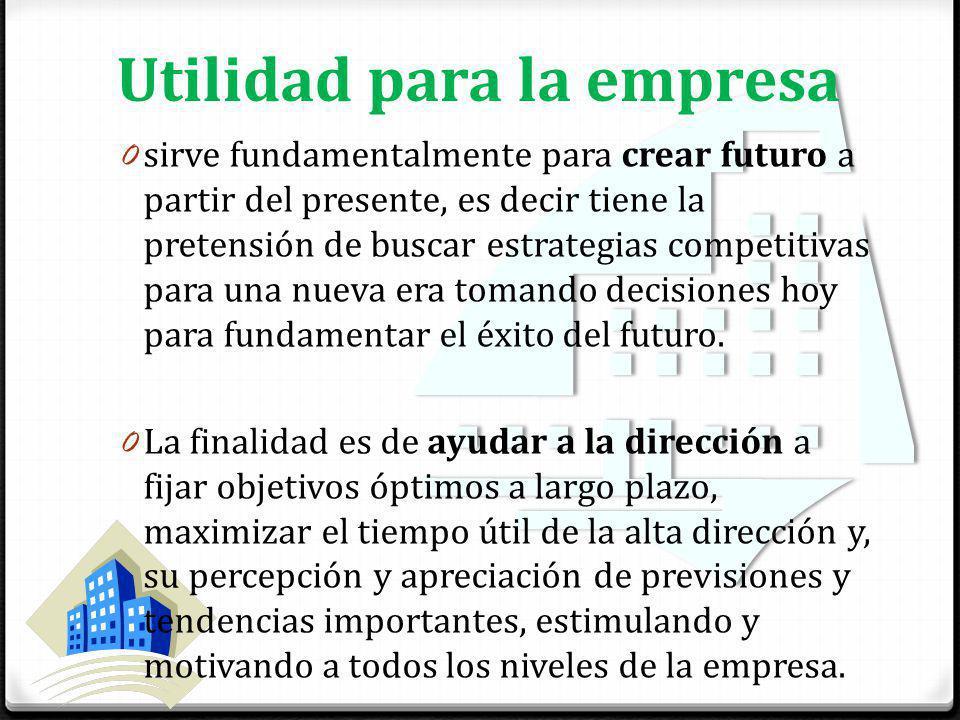 Utilidad para la empresa 0 sirve fundamentalmente para crear futuro a partir del presente, es decir tiene la pretensión de buscar estrategias competitivas para una nueva era tomando decisiones hoy para fundamentar el éxito del futuro.