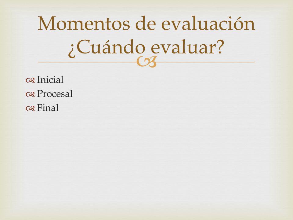 Inicial Procesal Final Momentos de evaluación ¿Cuándo evaluar?