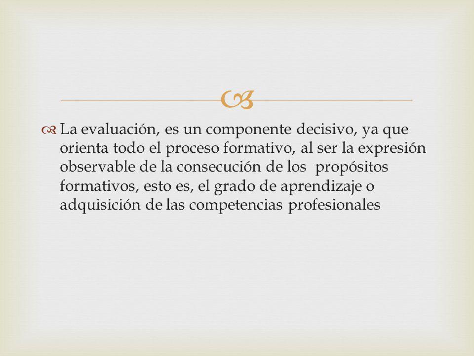 La evaluación, es un componente decisivo, ya que orienta todo el proceso formativo, al ser la expresión observable de la consecución de los propósitos