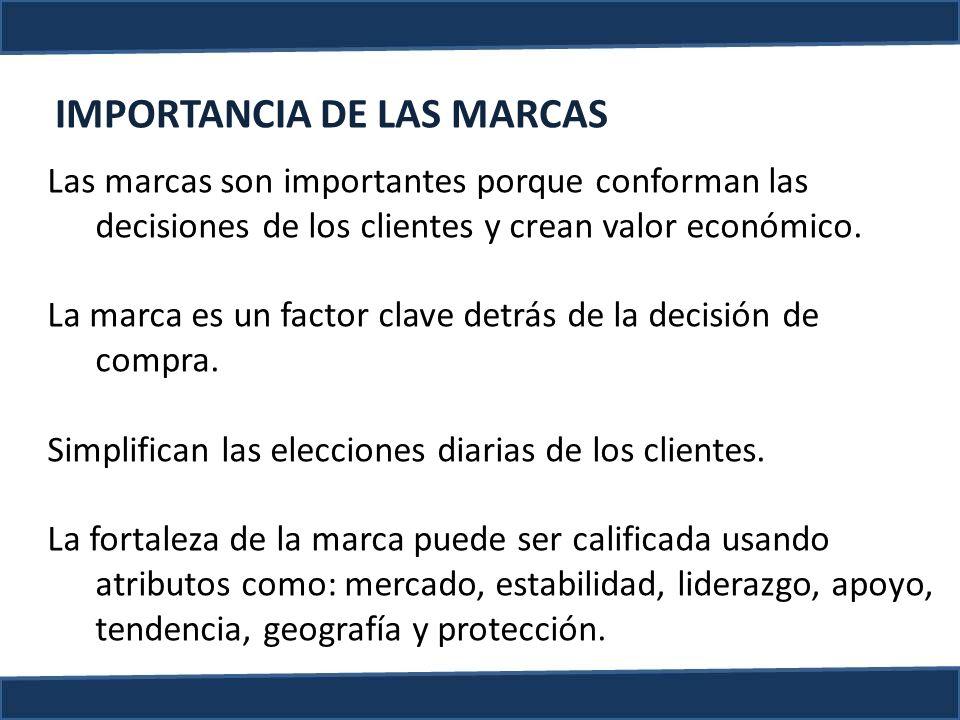 IMPORTANCIA DE LAS MARCAS Las marcas son importantes porque conforman las decisiones de los clientes y crean valor económico. La marca es un factor cl