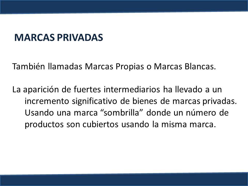 MARCAS PRIVADAS También llamadas Marcas Propias o Marcas Blancas. La aparición de fuertes intermediarios ha llevado a un incremento significativo de b