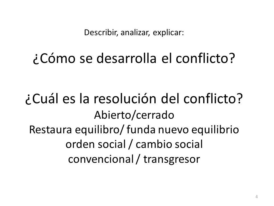 4 Describir, analizar, explicar: ¿Cómo se desarrolla el conflicto.