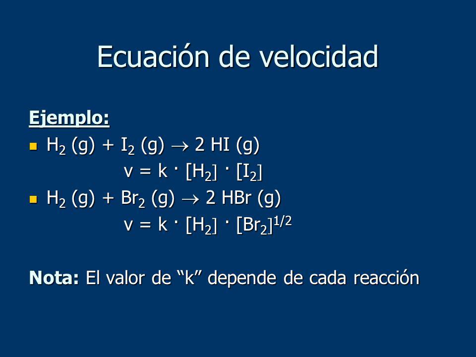 Ejemplo: H 2 (g) + I 2 (g) 2 HI (g) H 2 (g) + I 2 (g) 2 HI (g) v = k · [H 2 · [I 2 v = k · [H 2 · [I 2 H 2 (g) + Br 2 (g) 2 HBr (g) H 2 (g) + Br 2 (g)