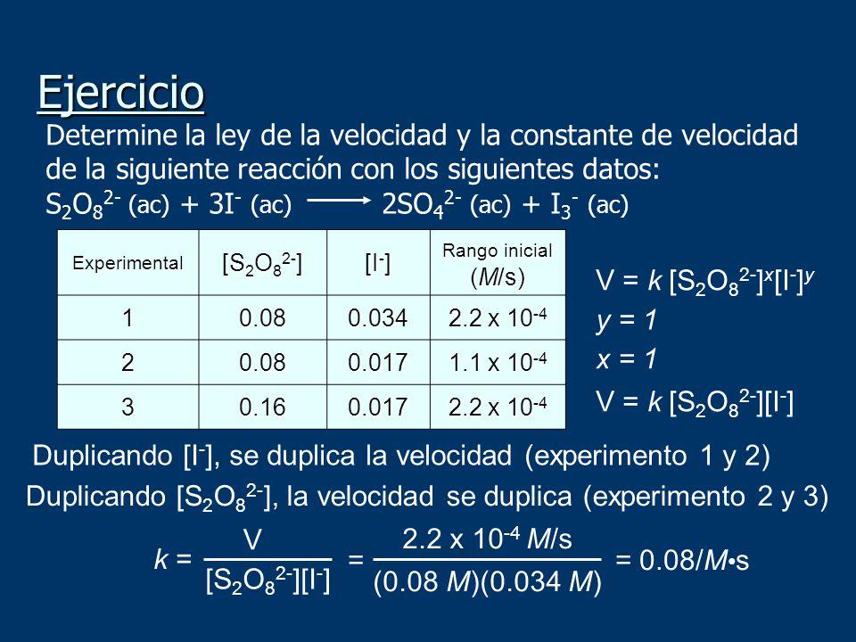 Ejercicio Determine la ley de la velocidad y la constante de velocidad de la siguiente reacción con los siguientes datos: S 2 O 8 2- (ac) + 3I - (ac)