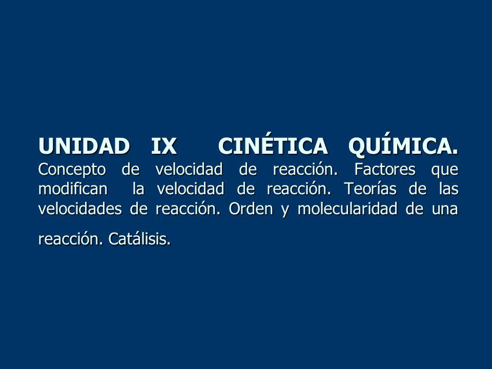 UNIDAD IX CINÉTICA QUÍMICA. Concepto de velocidad de reacción. Factores que modifican la velocidad de reacción. Teorías de las velocidades de reacción