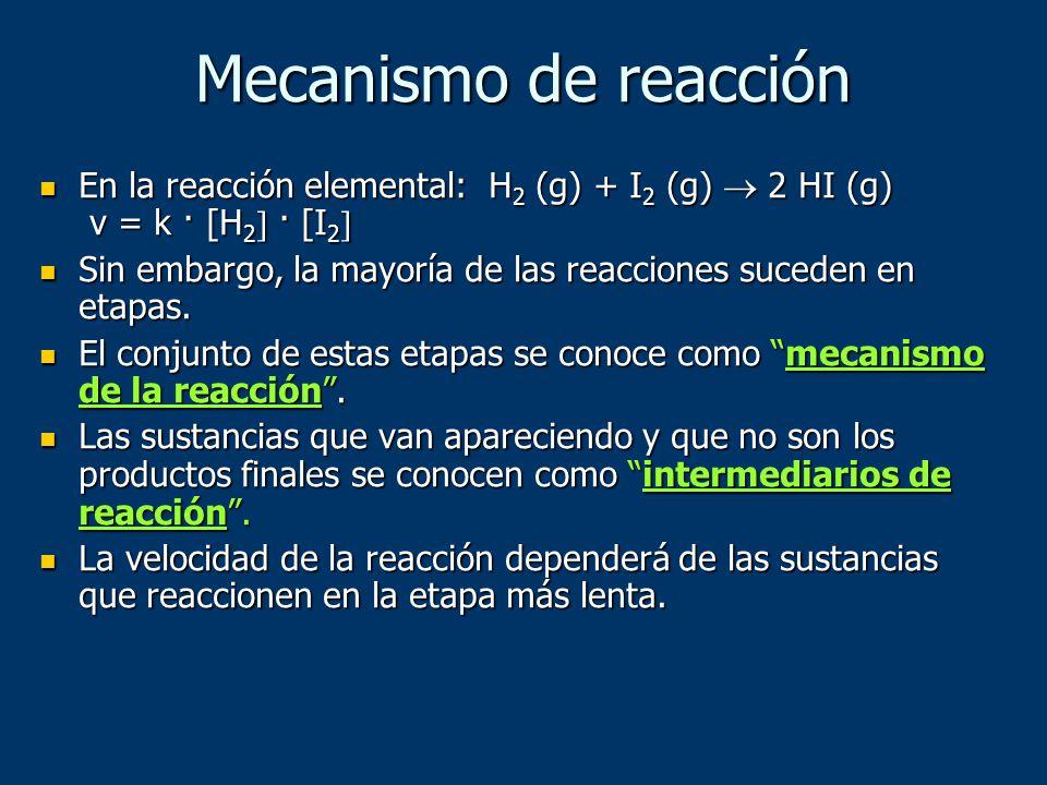 Mecanismo de reacción En la reacción elemental: H 2 (g) + I 2 (g) 2 HI (g) v = k · [H 2 · [I 2 En la reacción elemental: H 2 (g) + I 2 (g) 2 HI (g) v