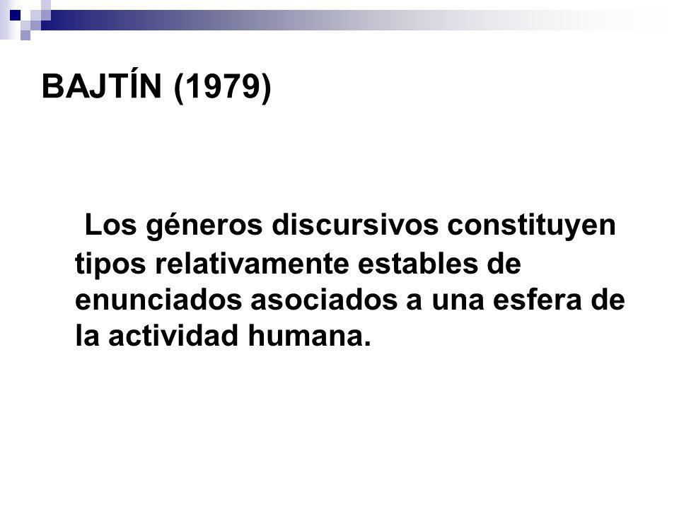 BAJTÍN (1979) Los géneros discursivos constituyen tipos relativamente estables de enunciados asociados a una esfera de la actividad humana.
