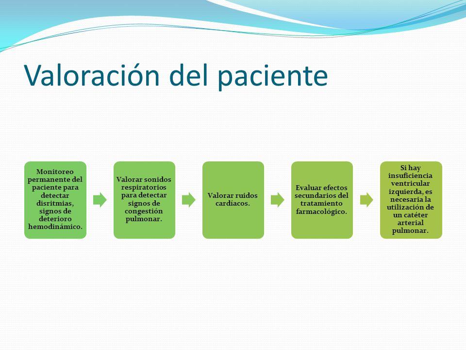 Valoración del paciente Monitoreo permanente del paciente para detectar disritmias, signos de deterioro hemodinámico.