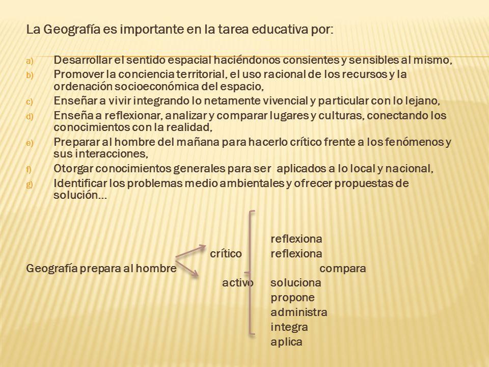 La Geografía es importante en la tarea educativa por: a) Desarrollar el sentido espacial haciéndonos consientes y sensibles al mismo, b) Promover la c
