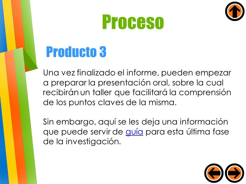 Una vez finalizado el informe, pueden empezar a preparar la presentación oral, sobre la cual recibirán un taller que facilitará la comprensión de los
