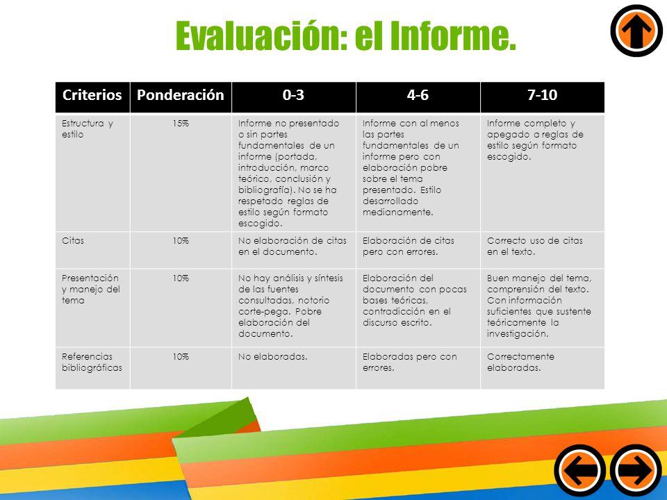 Evaluación: el Informe. CriteriosPonderación0-34-67-10 Estructura y estilo 15%Informe no presentado o sin partes fundamentales de un informe (portada,