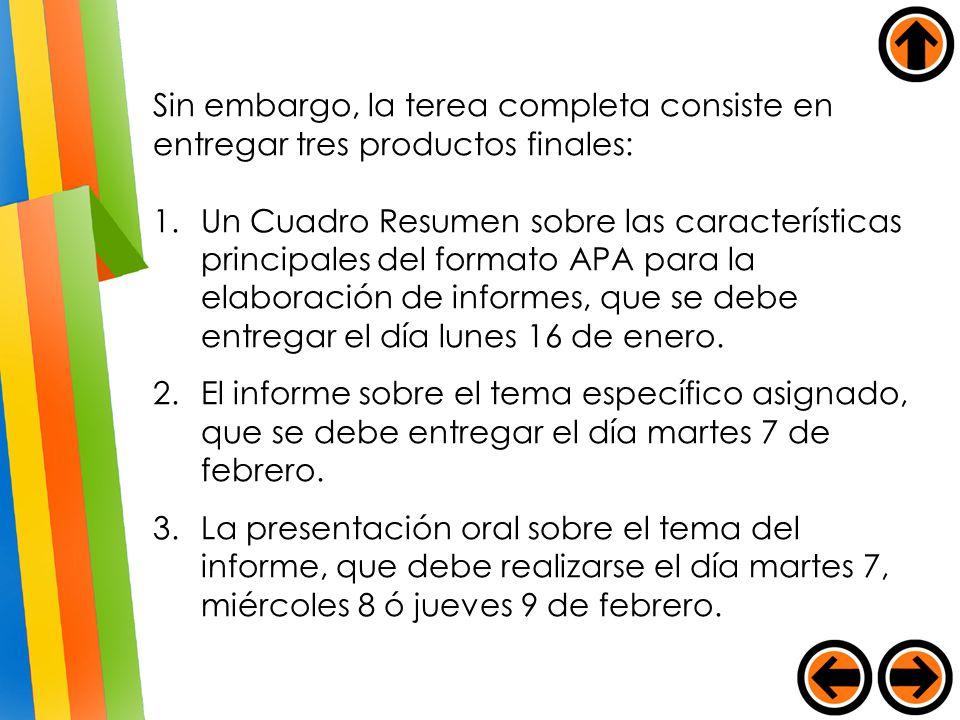 Sin embargo, la terea completa consiste en entregar tres productos finales: 1.Un Cuadro Resumen sobre las características principales del formato APA