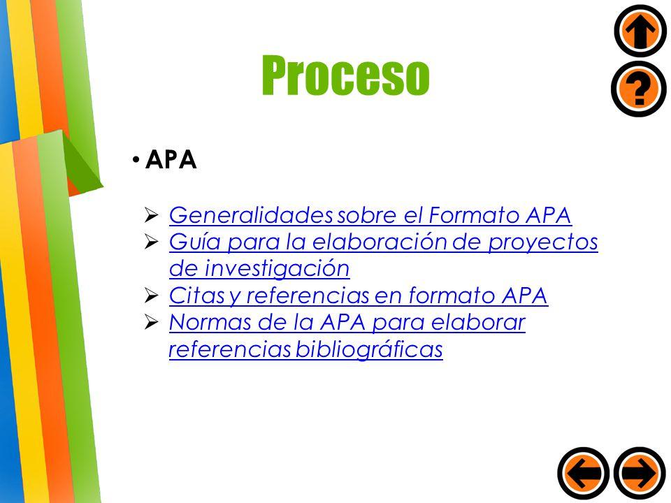 APA Generalidades sobre el Formato APA Guía para la elaboración de proyectos de investigación Guía para la elaboración de proyectos de investigación C