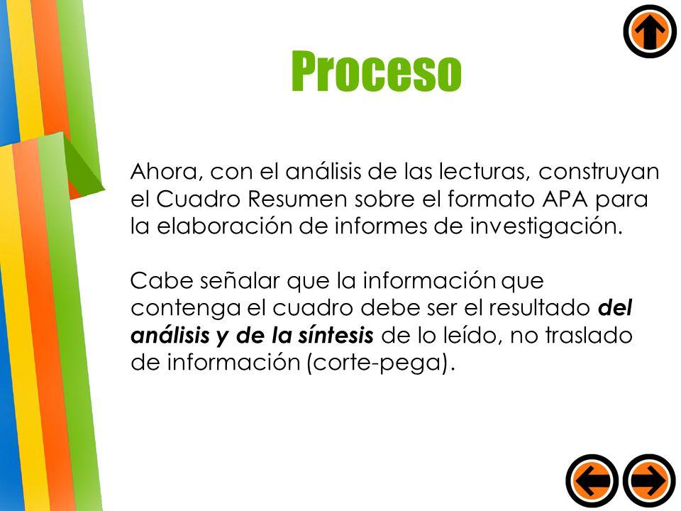 Ahora, con el análisis de las lecturas, construyan el Cuadro Resumen sobre el formato APA para la elaboración de informes de investigación. Cabe señal
