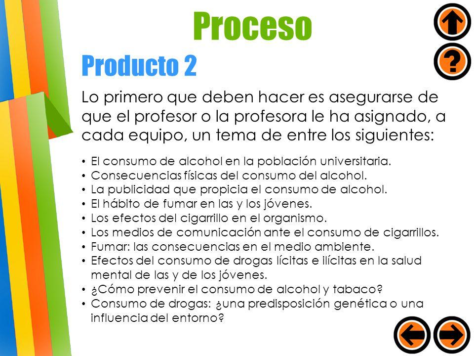 Producto 2 Lo primero que deben hacer es asegurarse de que el profesor o la profesora le ha asignado, a cada equipo, un tema de entre los siguientes: