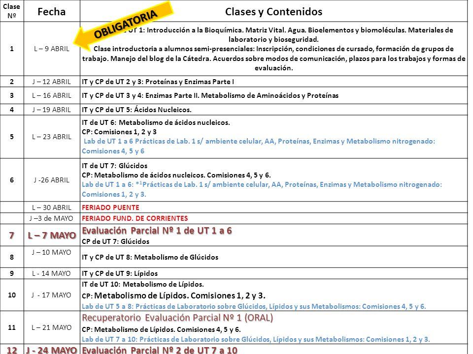Cronograma del curso 2012