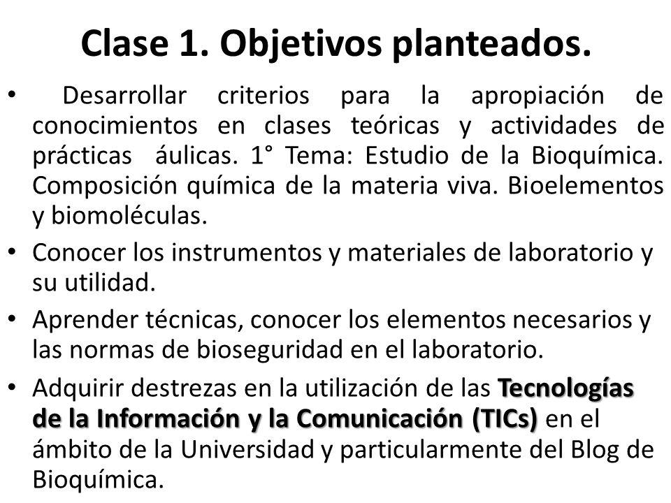 Requisitos y condiciones para cursar Bioquímica Curso destinado a los alumnos de la carrera de Cs.