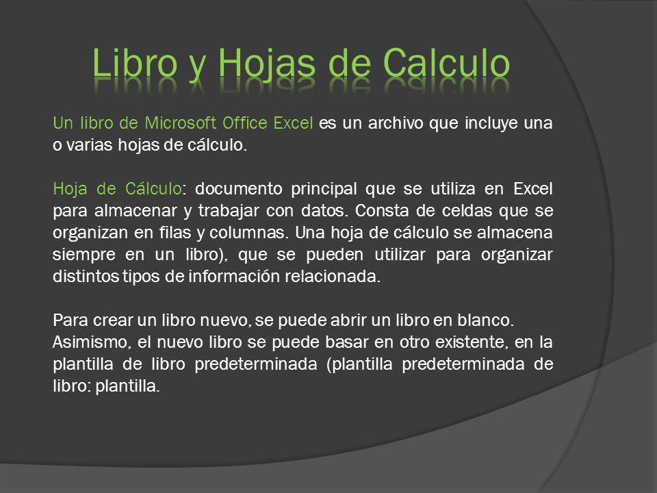 Un libro de Microsoft Office Excel es un archivo que incluye una o varias hojas de cálculo. Hoja de Cálculo: documento principal que se utiliza en Exc