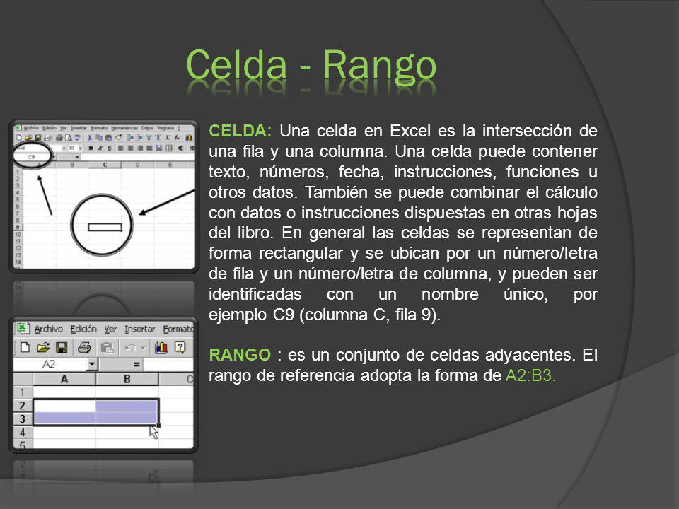 CELDA: Una celda en Excel es la intersección de una fila y una columna. Una celda puede contener texto, números, fecha, instrucciones, funciones u otr