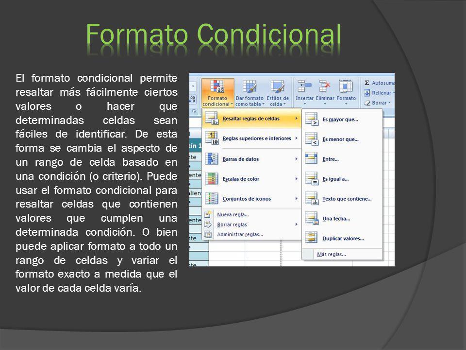 El formato condicional permite resaltar más fácilmente ciertos valores o hacer que determinadas celdas sean fáciles de identificar. De esta forma se c