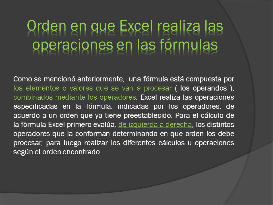 Como se mencionó anteriormente, una fórmula está compuesta por los elementos o valores que se van a procesar ( los operandos ), combinados mediante lo