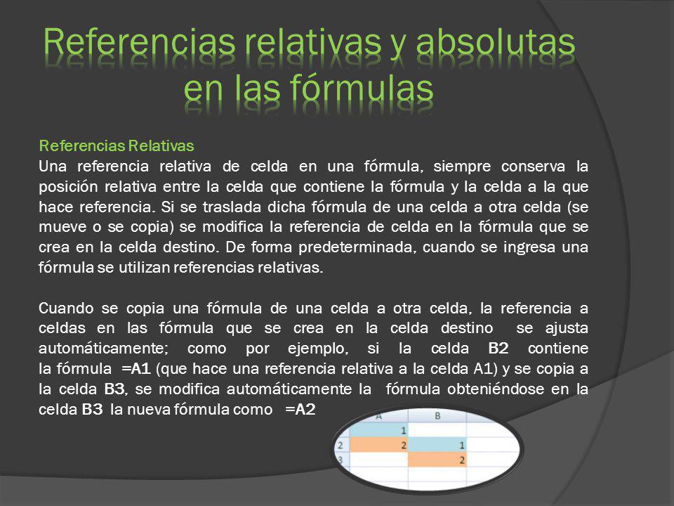 Referencias Relativas Una referencia relativa de celda en una fórmula, siempre conserva la posición relativa entre la celda que contiene la fórmula y