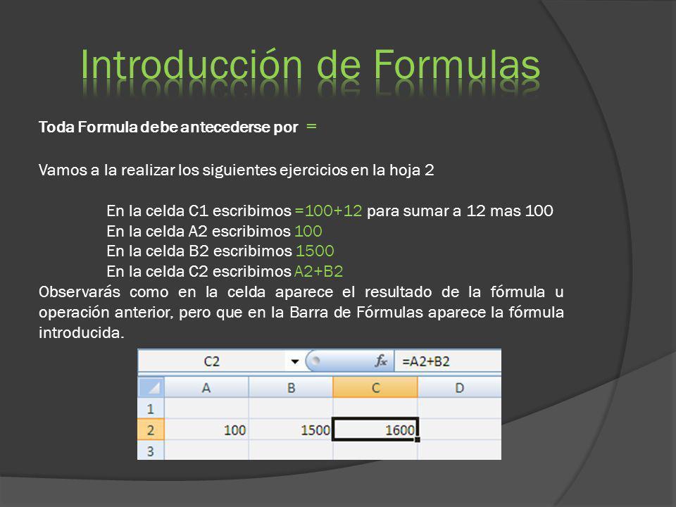 Toda Formula debe antecederse por = Vamos a la realizar los siguientes ejercicios en la hoja 2 En la celda C1 escribimos =100+12 para sumar a 12 mas 1