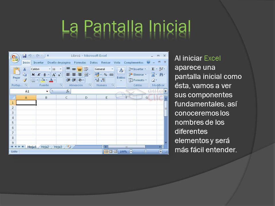 Al iniciar Excel aparece una pantalla inicial como ésta, vamos a ver sus componentes fundamentales, así conoceremos los nombres de los diferentes elem
