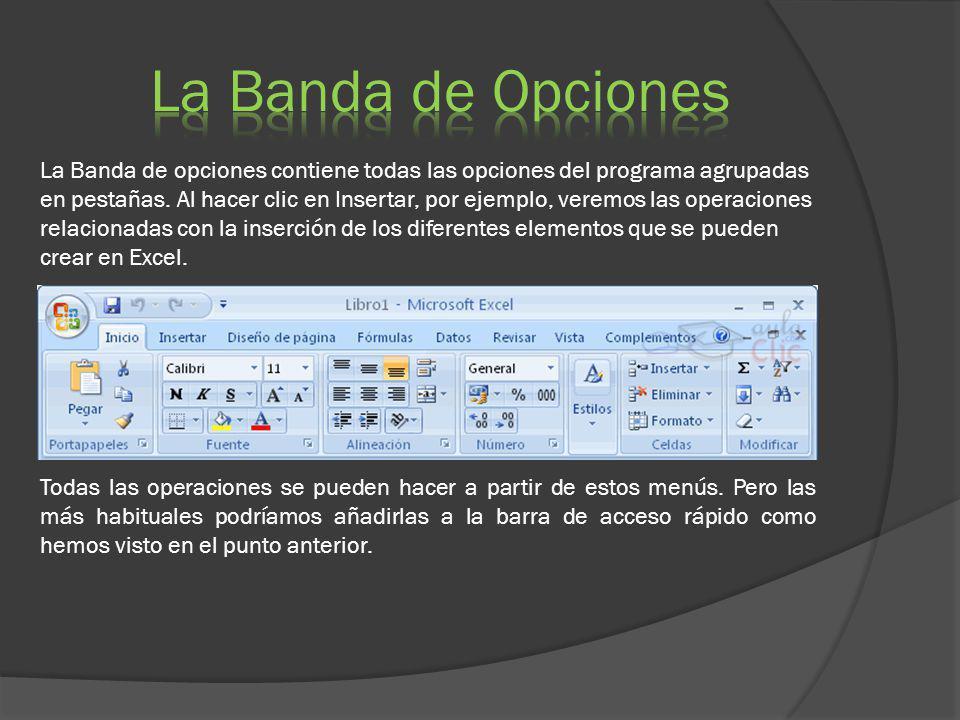 La Banda de opciones contiene todas las opciones del programa agrupadas en pestañas. Al hacer clic en Insertar, por ejemplo, veremos las operaciones r