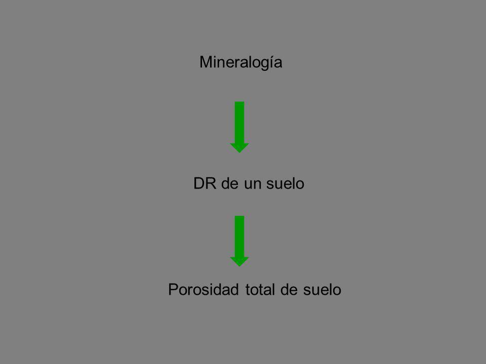 DR de un suelo Porosidad total de suelo Mineralogía