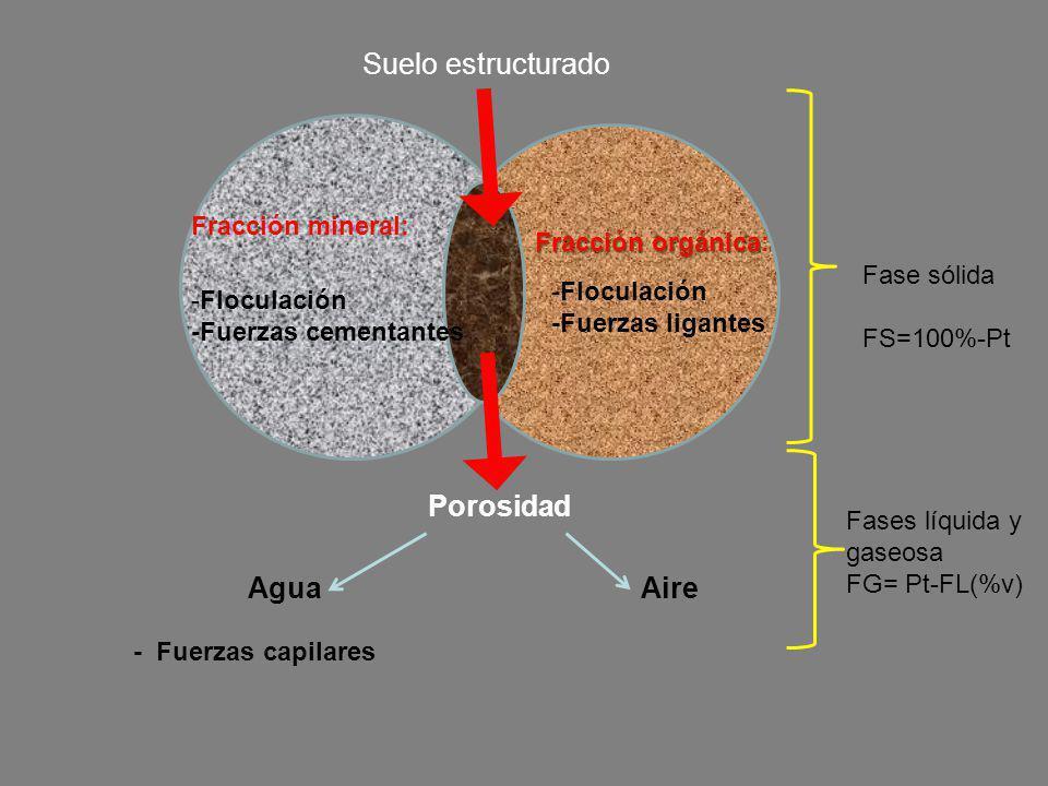 Fracción mineral: Fracción orgánica Fracción orgánica: Suelo estructurado -Floculación -Fuerzas cementantes -Floculación -Fuerzas ligantes Porosidad F