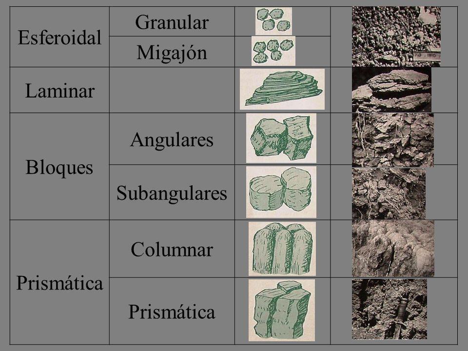 Esferoidal Granular Migajón Laminar Bloques Angulares Subangulares Prismática Columnar Prismática