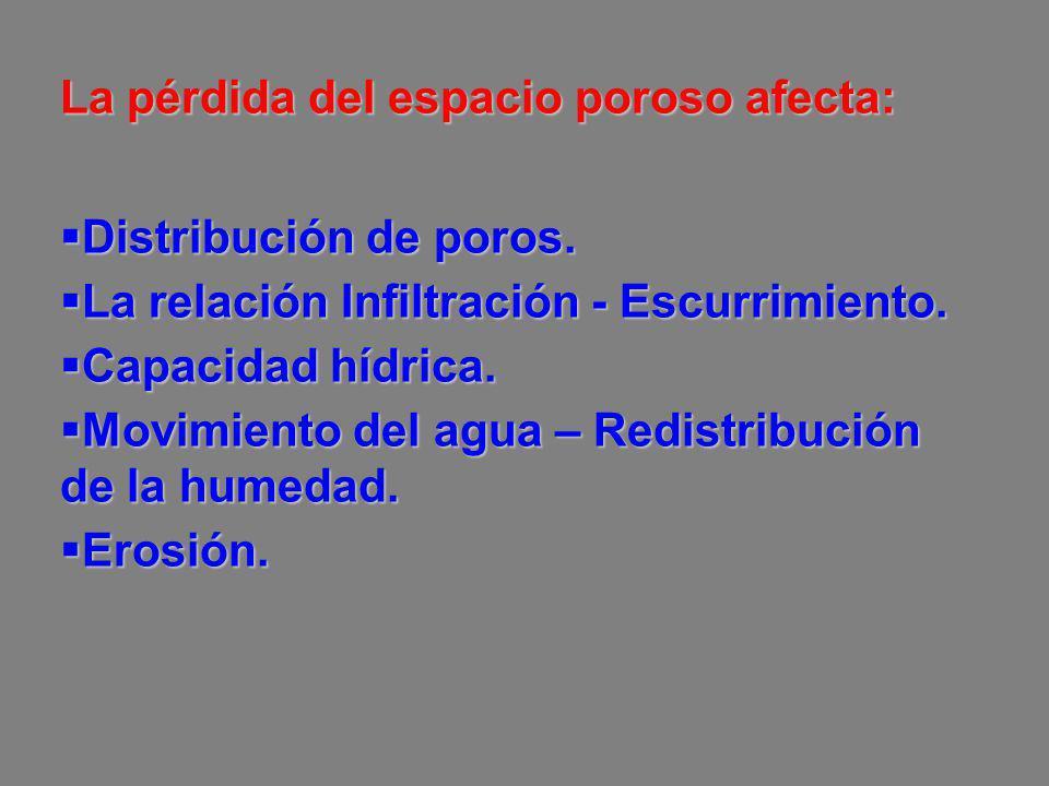 La pérdida del espacio poroso afecta: Distribución de poros. Distribución de poros. La relación Infiltración - Escurrimiento. La relación Infiltración