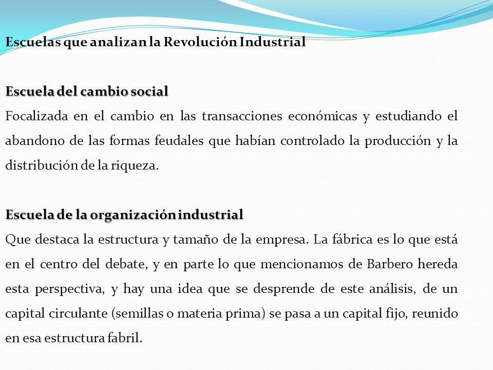 Escuela del cambio social Focalizada en el cambio en las transacciones económicas y estudiando el abandono de las formas feudales que habían controlado la producción y la distribución de la riqueza.