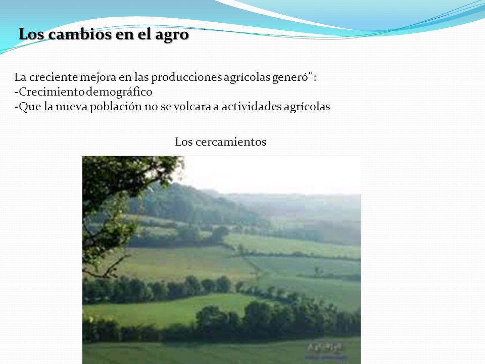 Los cambios en el agro La creciente mejora en las producciones agrícolas generó¨: -Crecimiento demográfico -Que la nueva población no se volcara a actividades agrícolas Los cercamientos