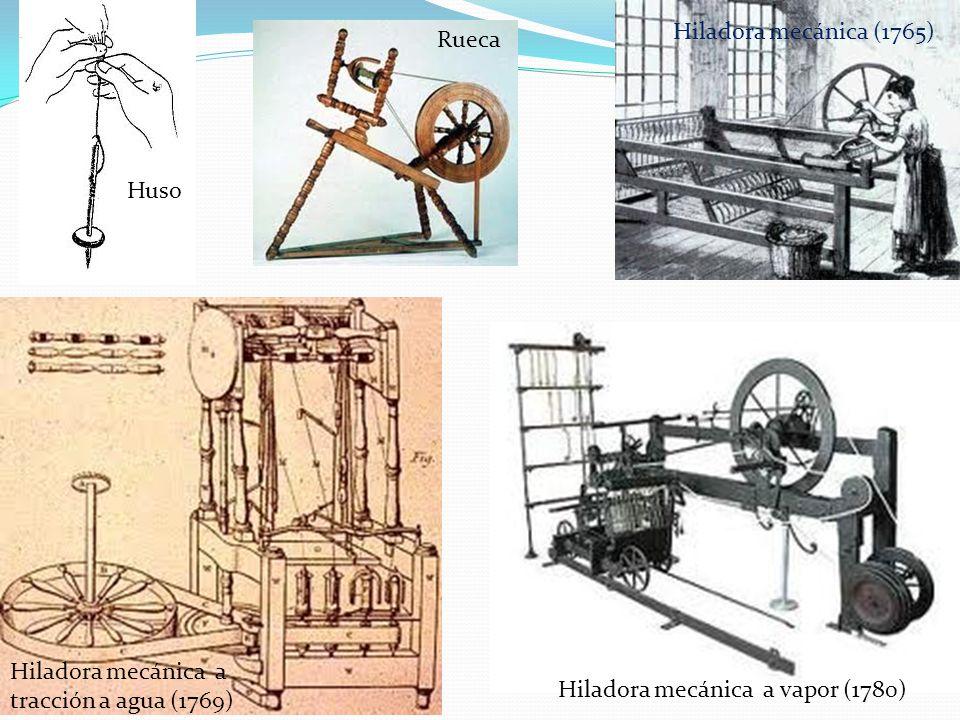 Huso Rueca Hiladora mecánica (1765) Hiladora mecánica a tracción a agua (1769) Hiladora mecánica a vapor (1780)