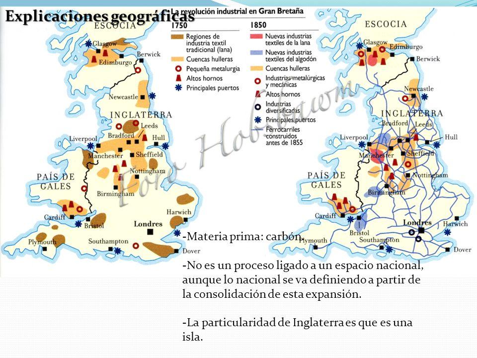 Explicaciones geográficas -Materia prima: carbón.