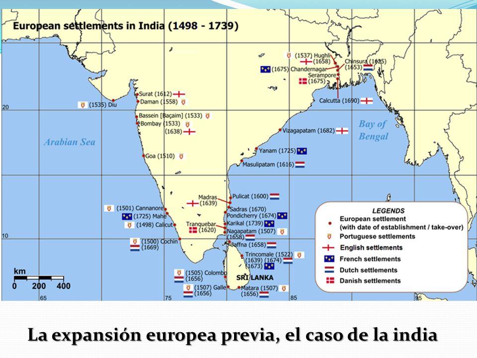 La expansión europea previa, el caso de la india