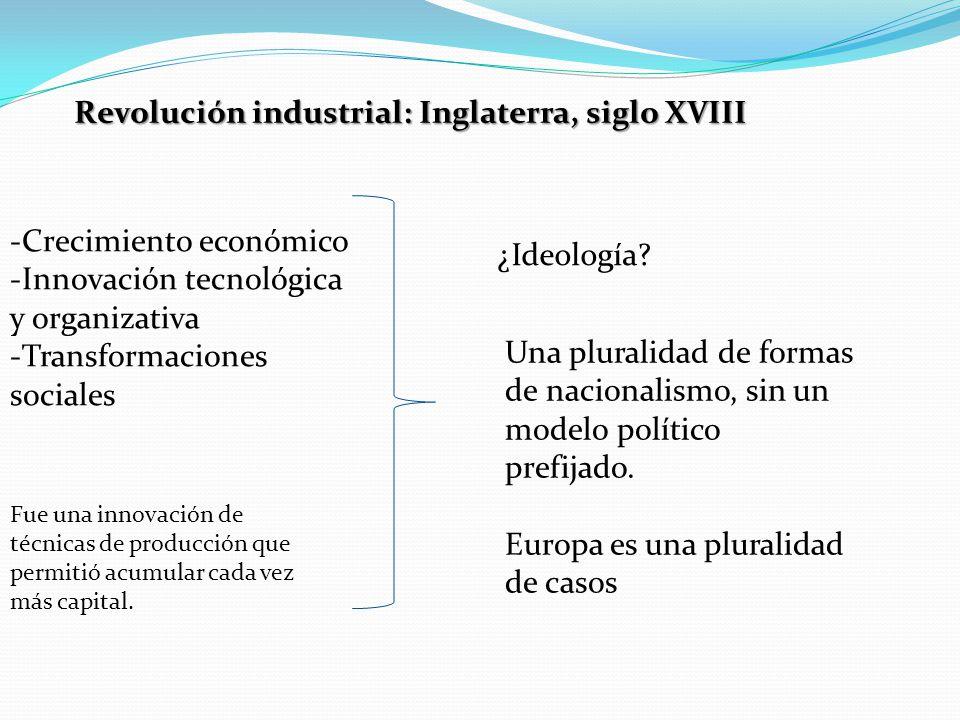 Revolución industrial: Inglaterra, siglo XVIII -Crecimiento económico -Innovación tecnológica y organizativa -Transformaciones sociales Fue una innovación de técnicas de producción que permitió acumular cada vez más capital.