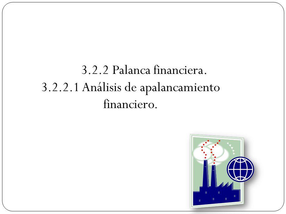 3.2.2 Palanca financiera. 3.2.2.1 Análisis de apalancamiento financiero.