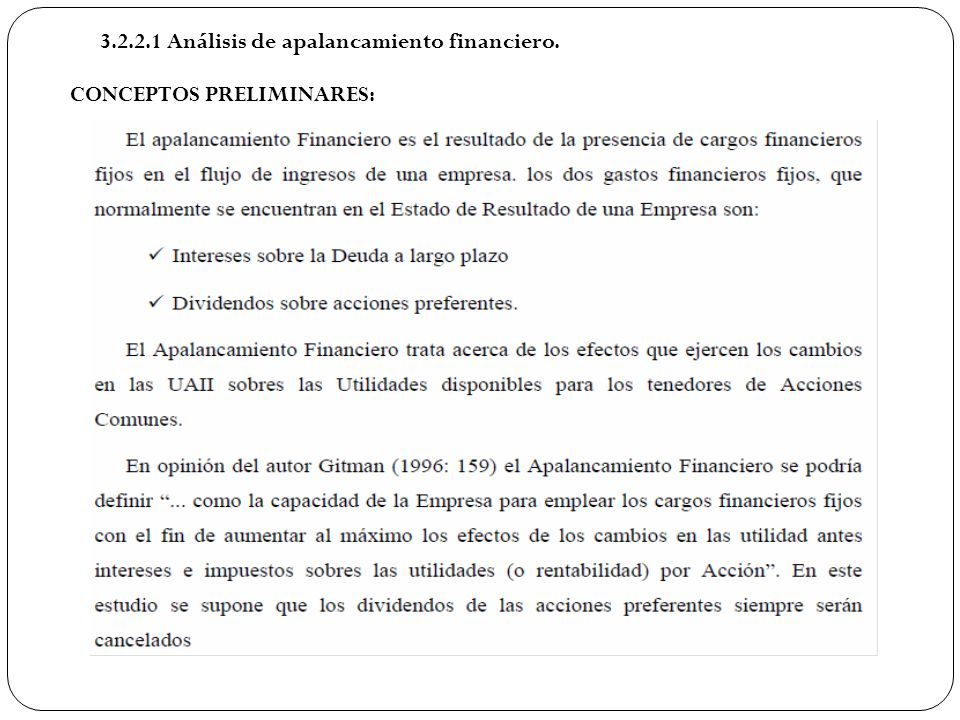 3.2.2.1 Análisis de apalancamiento financiero. CONCEPTOS PRELIMINARES: