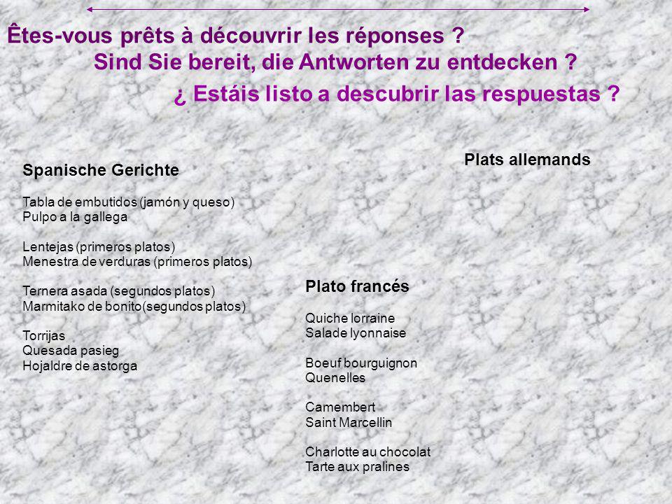 Êtes-vous prêts à découvrir les réponses ? ¿ Estáis listo a descubrir las respuestas ? Sind Sie bereit, die Antworten zu entdecken ? Spanische Gericht